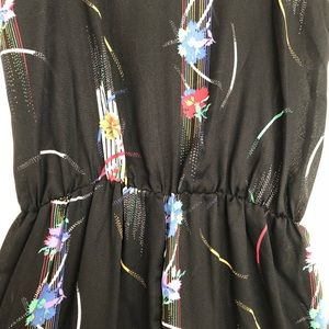 Vintage Pants - Vintage Black Jumpsuit Abstract Print size S/M
